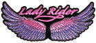 Embroidered Lady Rider Wings Purple Large Back Patch