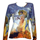 CLAUDE MONET Woman Parasol LANDSCAPE IMPRESSION LS TOP T-SHIRT FINE ART PRINT