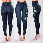Hot Women Floral High Waist Pencil Jeans Trousers Flower Embroidered Denim Pants