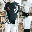 New Summer Fashion Mens Cotton Linen Short Sleeve Casual Floral T-shirt Tees Top