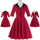 Women's Vintage Short Polka Dots 50s Party Cocktail Fromal Housewife Party Dress