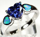1.13 Ct Heart Tanzanite & Blue Fire Opal Inlay 925 Sterling Silver Ring Sz 5-9
