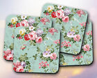 Pattern // Flowers, Floral, Vintage, Green, Pink, Cute // Coaster [NEW!] 53