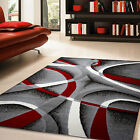Ebern Designs Nevaeh Gray/White/Wine Red/Black Area Rug