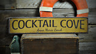Cocktail Cove, Custom Beach Location - Rustic Distressed Wood Sign
