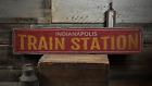 Station City Train, Custom Railroad - Rustic Distressed Wood Sign ENS1001511