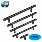 Modern Flat Black Slim Line Euro Style Bar Pull Cabinet Drawer Handle Pull 5pack