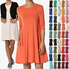 TheMogan Women & PLUS 3/4 Sleeve Pocket Swing Flared TUNIC DRESS A-Line Long Top