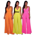 Fashion Lady Strappy V Neck Jumpsuit Long Wide Leg Pants Romper Casual Playsuit
