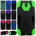 For ZTE ZMAX Champ Z917VL Turbo Layer HYBRID KICKSTAND Rubber Case Phone Cover