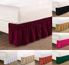 "NEW 1PC ELASTIC ALL AROUND STYLE BEDDING DRESSING BED SOLID SKIRT 14"" DROP TWIN  image"