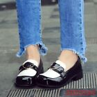 Ladies Japan Lolita slip on Buckle Faux Patent Leather Loafers Moccasins shoes