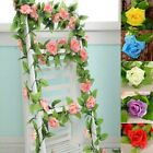 Hot 8Ft Rose Garland Silk Flowers Vine Wedding Party Home Garden Yard Decor Free