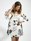Lovedrobe GB Cream Womens Plus Size Floral Swing Dress With Bell Sleeves