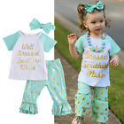 US 3pcs Set Toddler Kids Baby Girls T-shirt Tops+Pants Headband Outfits Clothes