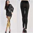 High Quality Black Gold Leather Lady Women Legging Stretchy Skinny Pants 512Gold