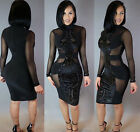 USA Summer Women Long Sleeve Bodycon Casual Party Evening Cocktail Short Dress