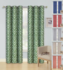 ziz - 2 ZIZ ZAG PRINTED GROMMET PANELS FOAM LINED BLACKOUT WINDOW CURTAIN TREATMENT