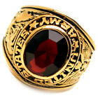 Accents Kingdom Men's Gold Plated US Army Military Ring Ruby Red CZ Size 8-13