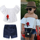 Kid Baby Girl Infant Off the shoulder T-shirt Top Shirt+Short Pants Jeans Outfit