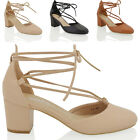 Womens Low Heel Lace Up Ankle Close Toe Shoes Ladies Court Shoes Size 3-8