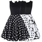 Polka Dot Womens 1950s Vintage Evening Party Swing Pleat A-Line Cocktails Dress