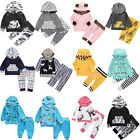 US Newborn Kids Outfit Baby Boy Girl Clothes Hoodie T-shirt Tops+Pants Gift Sets