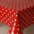 CHILDRENS  NURSERY WHITE COLOURED POLKA DOTS RED BLUE PVC VINYL OIL TABLE CLOTH