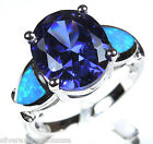 5 Ct Tanzanite & Blue Fire Opal Inlay Solid 925 Sterling Silver Ring Size 6789