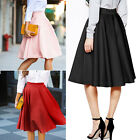 New Women Lady Vintage High Waist Plain Skater Flared Pleated Long Skirt Dress