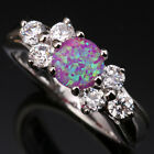 Delightful Pink Circle Fire Opal Topaz Gems Silver Rings Size 6 7 8 9 T1083