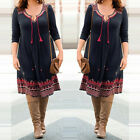 Vintage Women's Casual loose Long sleeve V neck Lace-up Dress Black PLUS Size