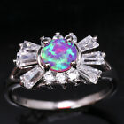 Special offer Pink Fire Opal Around White Topaz Silver Ring Size6 7 8 9 T1265