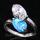 Preferentia Blue Fire Opal 2 pcs Pear Topaz Silver Ring Size 6 7 8 9 T1258