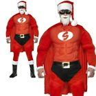Super Fit Hero Santa Costume Mens Father Christmas Fancy Dress Funny Outfit M L