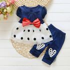 Toddler Kids Baby Girls Summer Outfits Clothes T-shirt Tops Dress+Pants 2PCS Set