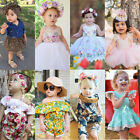 Kids Baby Clothes Girls Floral Tulle Romper Dress Sunsuit Outfits Set US Stock