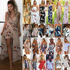 Womens Holiday Floral Playsuit Maxi Shorts Jumpsuit Summer Beach Dress Sundress