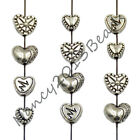 Tibetan Silver Carved Heart Metal Pendant Necklaces Charm Findings Beads