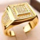 GEBLING CZ AAA Micropave 24K Yellow Gold Filled Crystal Men Ring R53 9-12#