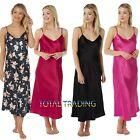 Ladies  Womens Silky Satin Chemise Long Nightdress Nighty Nightshirt Nightie