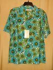 Island Republic men's button teal brown Hawaiian shirt top 100% silk M  $78