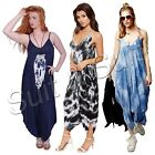 New Womens Ladies Italian Lagenlook Tie Dye Sleeveless Dress Jumpsuit (10-20)