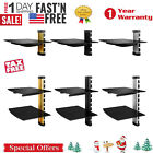 wall mounted tv cables - 2 TIER DUAL GLASS SHELF WALL MOUNT UNDER TV CABLE BOX COMPONENT DVR DVD BRACKET