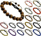 Men's Women's Natural Gemstone Macrame Beads Shamballa Yoga Bracelet