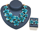 New Women bride Wedding Party set Jewelry Flower Crystal Statement necklace set