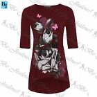 Womens Floral Butterfly Dip Hem Top Ladies 3/4 Sleeves High Low Tunic Plus Size
