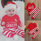 US STOCK Infant Baby My First Christmas Romper+Stripe Pants 2Pcs Outfits Clothes