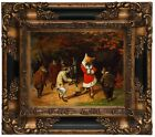 Beard His Majesty Receives Fox and Rabbits Wood Framed Canvas Print Repro 8x10