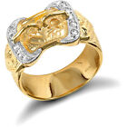 Men's Solid 9ct Gold White Round Brilliant Cubic Zirconia Double Buckle Ring